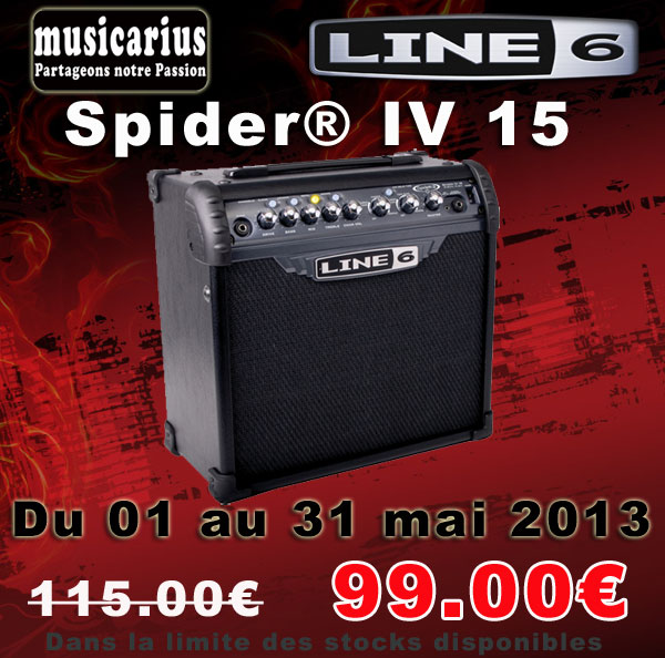 Du 01 au 31 mai: Ampli Guitare Line VI Spider 15 à 99.00€