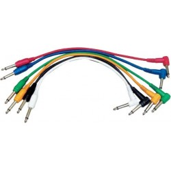 6 Cordons Patch Couleur J. Coudé/J. Droit 60cm Yellow Cable