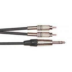 Cordon Adaptateur 2 RCA Mâle/Jack Mâle Stéréo 3m Yellow Cable